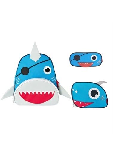 Zoozy Köpek Balığı Çanta Seti (Sırt Çanta-Beslenme Çantası-Kalemlik) Renkli
